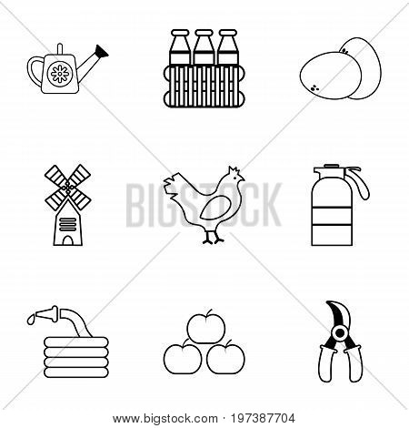 Village farm icons set. Outline set of 9 village farm vector icons for web isolated on white background