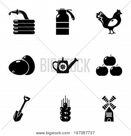 Village farm icons set. Simple set of 9 village farm vector icons for web isolated on white background