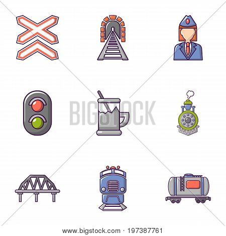 Railway steward icons set. Flat set of 9 railway steward vector icons for web isolated on white background