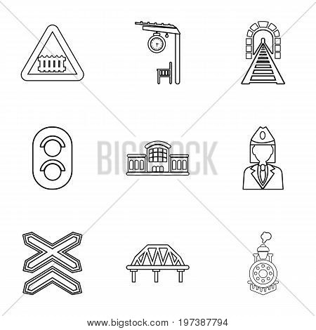Railway steward icons set. Outline set of 9 railway steward vector icons for web isolated on white background
