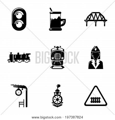 Railway steward icons set. Simple set of 9 railway steward vector icons for web isolated on white background