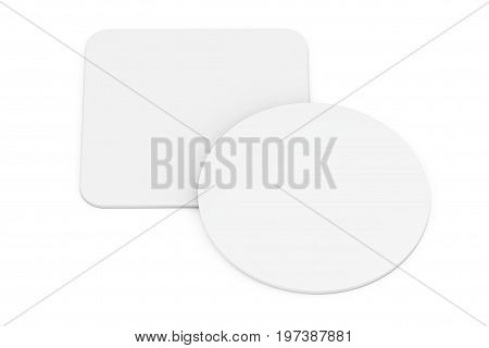Two White Blank Beer Coasters on a white background. 3d Rendering