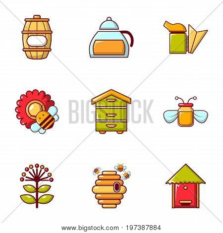 Beekeeping tools icons set. Flat set of 9 beekeeping tools vector icons for web isolated on white background