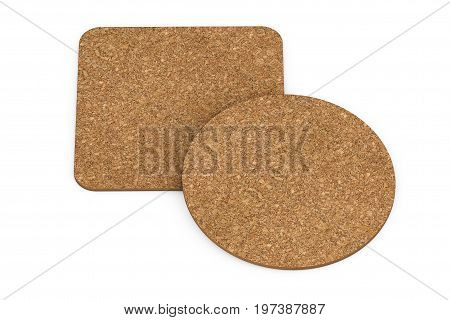 Two Cork Beer Coasters on a white background. 3d Rendering