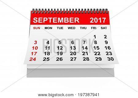 2017 year calendar. September calendar on a white background. 3d rendering