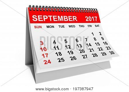 2017 year calendar. September calendar on a white background. 3d rendering