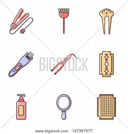 Hairdressing salon icons set. Flat set of 9 hairdressing salon vector icons for web isolated on white background
