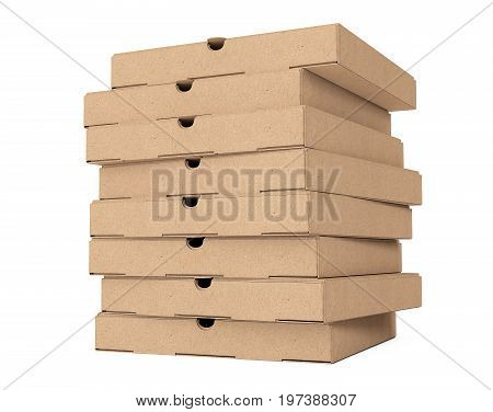Stack of Blank Cardboard Pizza Boxes on a white background. 3d Rendering.