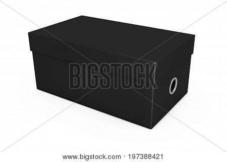 Black Blank Cardboard Shoe Box Mockup for your Design on a white background. 3d Rendering