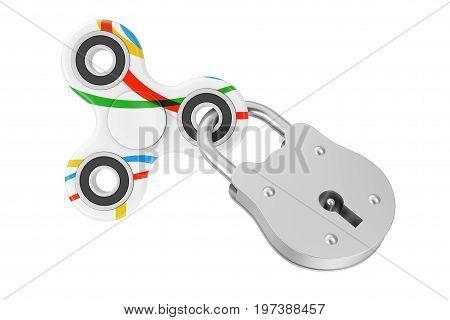 Locked Fidget Finger Spinner Antistress Toy on a white background. 3d Rendering.