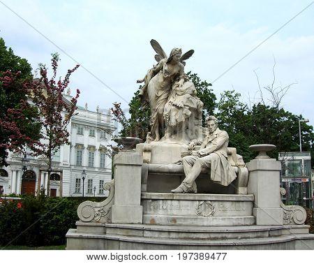 Ferdinand Raimund monument in Vienna, Austria. Ferdinand Raimund was an Austrian actor and dramatist. The Raimund Theater in Vienna is named after him.