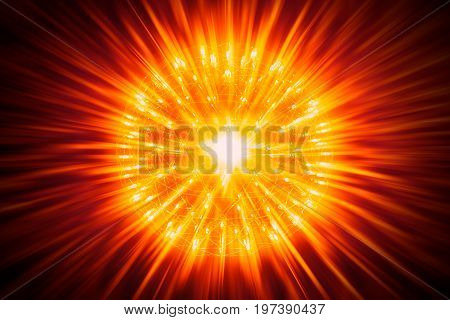 Nucleus Of Atom Nuclear Explode Atomic Bomb Red Hot Ray Radiation Light Science Illustration Concept