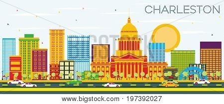 Charleston Skyline with Color Buildings and Blue Sky. West Virginia. Business Travel and Tourism Concept with Modern Architecture. Image for Presentation Banner Placard and Web Site.