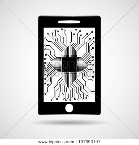 Smartphone mobile phone with processor inside. Vector
