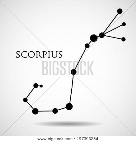 Constellation scorpius zodiac sign isolated on white background. Vector illustration. Eps 10