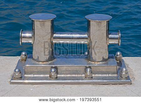 the Nickel - plated Bollard on moorage