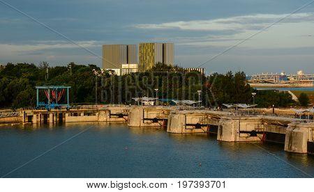 Marina Barrage At Sunset In Singapore
