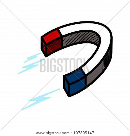 Color sketch of a magnet isolated on white background. Vector illustration, EPS 10