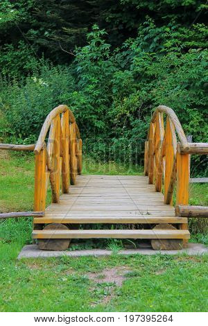 Wooden bridge trough small stream in Ukrainian Carpathians