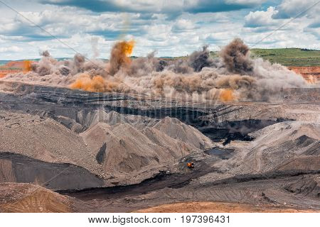 Explosive works on open pit, coal mining
