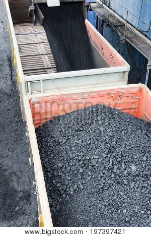 Railroad cargos filled with black coal at the station