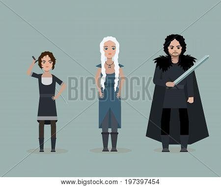 June 28 2017. Vector cute cartoon characters of Game Of Thrones. Arya Stark Daenerys Targaryen Jon Snow. Flat style.
