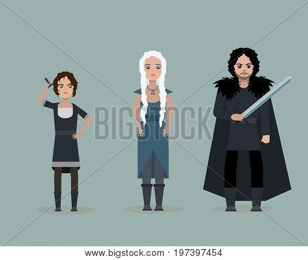 June 28 2017. Vector cute cartoon characters of Game Of Thrones. Arya Stark Daenerys Targaryen Jon Snow. Flat style.