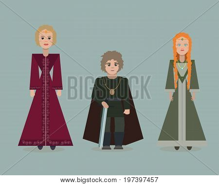 June 28 2017. Vector cute cartoon characters of Game Of Thrones. Cersei Lannister Tyrion Lannister Sansa Stark. Flat style.