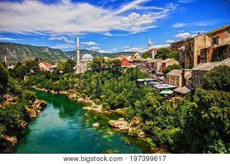 MOSTAR, BOSNIA AND HERZEGOVINA - MAY 13, 2017: Mostar old town, Bosnia and Herzegovina