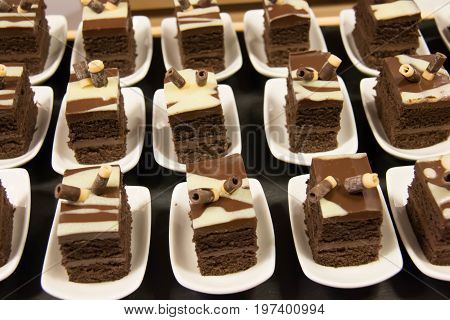 A Mini cake on the table for the buffet