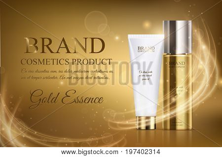 A Beautiful Cosmetic Ads Template, Golden Bottle Hair Oil With White Cosmetic Tube Design On A Gold