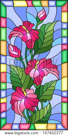 Illustration in stained glass style with flowers buds and leaves of pink Calla flower in a bright frame