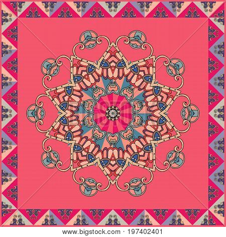 Lovely tablecloth or bandana print. Flower mandala and decorative frame from triangles patches on red background. Greeting card. Square vector template.