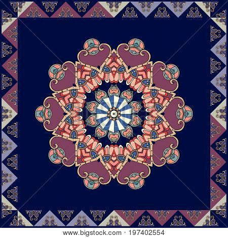 Square ethnic rug with flower mandala with purple petals and decorative frame. Vector template.