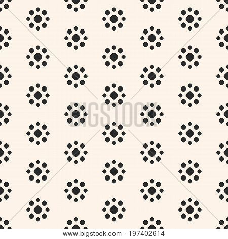 Flower pattern. Abstract dotted seamless pattern. Simple floral geometric shapes. Vector monochrome circles texture. Stippling background. Repeat tiles. Design element for prints, decor, textile, furniture, linens. Floral pattern. Abstract pattern.