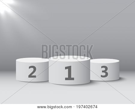 White winners podium with shadow. Round pedestal. Vector illustration eps10