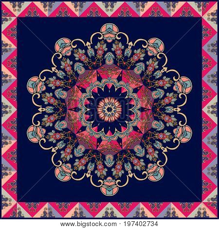 Cushion, square rug, ethnic shawl with flower mandala and ornamental frame. Greeting card, wedding invitation. Vector image.