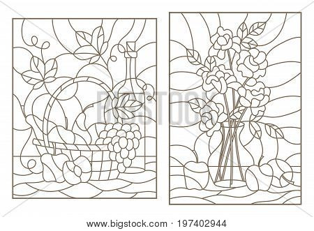 The illustrations in the stained glass style with still life grapes wine and bouquet of roses and fruit dark outline on a white background