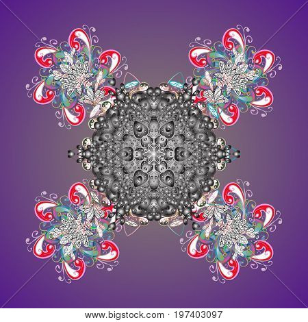 Abstract mandala or whimsical snowflake line art design. Isolated cute snowflakes on colorful background. Vector illustration.