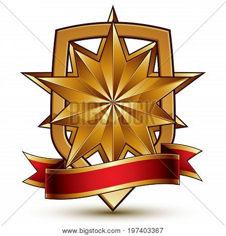 3d vector classic royal symbol sophisticated protection shield with polygonal golden star and red wavy stripe decorative emblem isolated on white background dimensional glossy element.