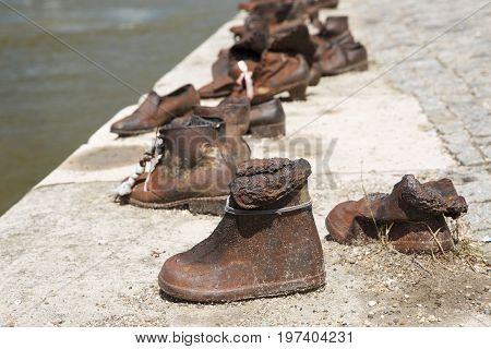 Historic Sculpture - Shoes On The Danube In Memory Of The Jews Killed During The Second World War.