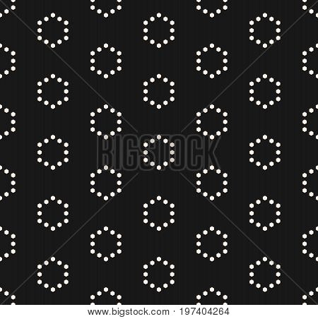 Vector minimalist seamless pattern, simple monochrome geometric texture with small hexagons in hexagonal grid. Black abstract minimalistic background. Subtle design for decor, prints, digital, web. Hexagon pattern, octagon pattern, geometric pattern