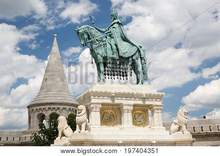 Monument Of Saint Stephen - The First King Of Hungary In Front Of Fisherman's Bastion, Budapest