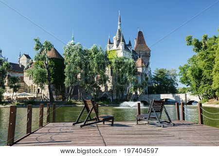 Place To Relax On The Lake In The Park Area With A View Of The Vajdahunyad Castle. Budapest