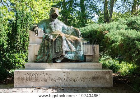 Monument Of Anonymous (notary And Chronicler Of A Hungarian King), Varosliget Park. Budapest