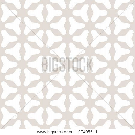 Triangles pattern. Vector seamless pattern. Smooth triangles, rounded triangular geometric figures. Abstract background in soft pastel colors beige & white. Design for prints, decor, fabric. Triangle background. Geometric pattern.