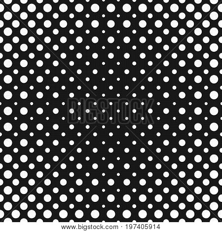 Halftone dots. Vector seamless pattern. Abstract black & white dotted geometric texture with different circles in sphere form. Halftone background. Monochrome background gradient transition effect. Perforated surface. Halftone gradient.