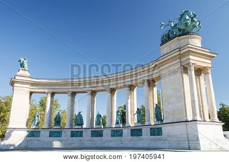 Colonnade At Heroes Square, One Of The Major Squares In Budapest, With Statues