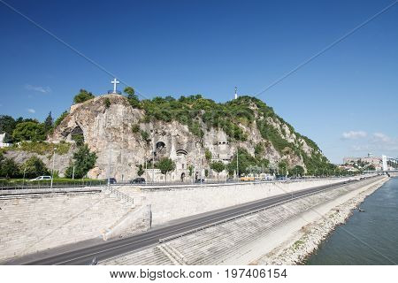 The Cave Church On The Gellert Hill In Budapest, Hungary. View Across Danube