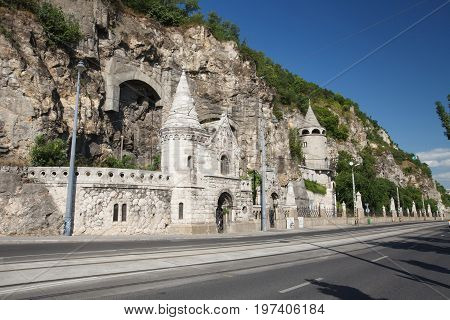 Facade Of The Cave Church Located Inside Gellert Hill In Budapest